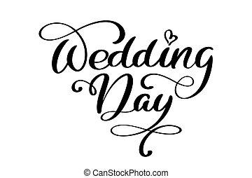 beschriftung, text, abbildung, hintergrund., vektor, wedding, weißes, kalligraphie, tag