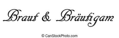 Beschriftung, Text, Abbildung, Vektor, Braut,Br?utigam,...