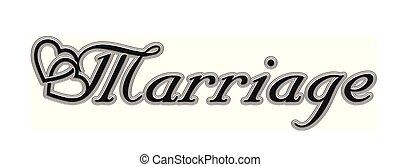 beschriftung, text, abbildung, vektor, marriage, kalligraphie