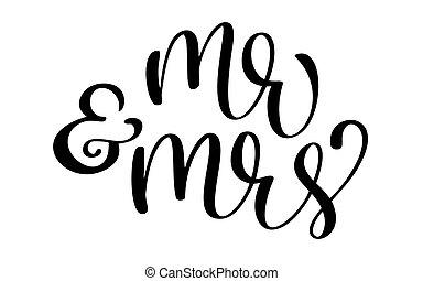 beschriftung, text, herr, abbildung, frau, hintergrund., vektor, hand, wedding, gezeichnet, weißes, kalligraphie