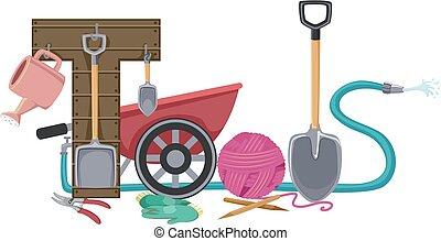 beschriftung, werkzeuge, kleingarten, abbildung