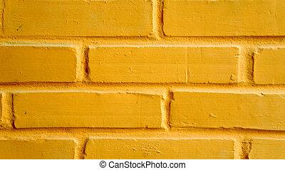 beschwingt, gelbe ziegelstein wand, als, a, hintergrund