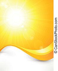 beschwingt, heiß, vektor, sommersonne, mit, linsenleuchtsignal, und, winken muster