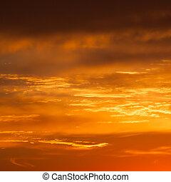 beschwingt, himmelsgewölbe, hell, gelber , farben, sonnenuntergang, orange