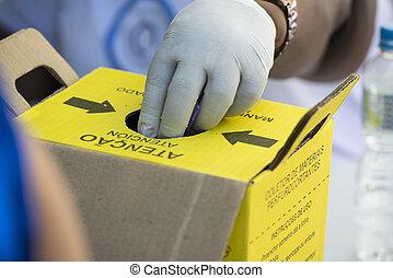 beseitigung, medizin, box., material, kontaminiert