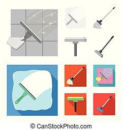 besen, vektor, stock., wischmop, icon., reiniger, ikone, fester entwurf