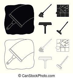 besen, vektor, stock., wischmop, reiniger, ikone, satz, symbol., design