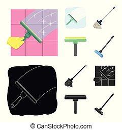 besen, vektor, wischmop, reiniger, freigestellt, gegenstand, bestand, symbol., sammlung, illustration.