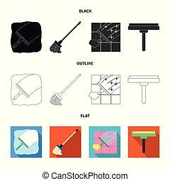 besen, vektor, zeichen., wischmop, reiniger, satz, bestand, design, illustration.