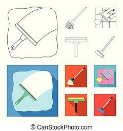 besen, wischmop, reiniger, freigestellt, gegenstand, logo., bestand, web., sammlung, symbol