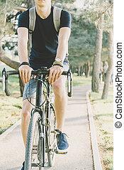 besetzen cycling, in, sommer, park.