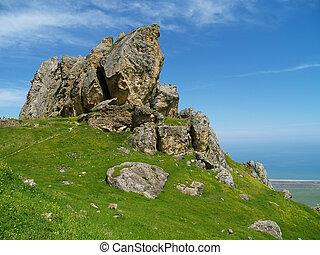 Holy rock near Baku or Five Finger Mountain,