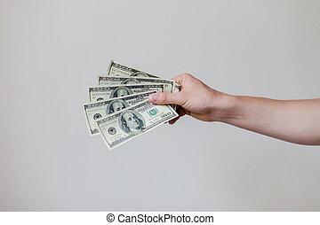 besitz, amerikanische , mann, dollar, hände