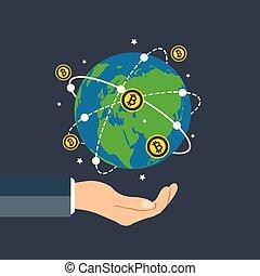 besitz, besitz, tabelle, erde, spinnen, geschäftsmann, wachstum, abbildung, world., vektor, bitcoin, ungefähr, erdball, hand, begriff