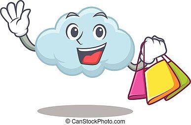 besitz, blaues, reich, karikatur, wolke, einkaufstüten, zeichen, berühmt
