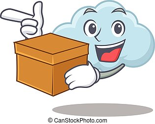 besitz, design, blaues, bild, karikatur, wolke, begriff, kasten