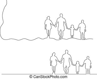 besitz, familie, freigestellt, abbildung, linien, vektor, schwarz, zusammen, hintergrund, hände, weißes