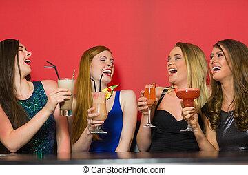 besitz, freunde, lachen, cocktails