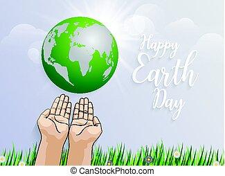 besitz, fruehjahr, erde, hintergrund, grün, gegen, gras, hände, planet