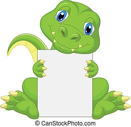 besitz, karikatur, dinosaurierer, reizend, leer