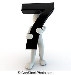 besitz, leute, 7, zeichen, zahl, schwarz, menschliche , klein, 3d