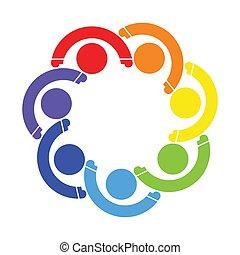 besitz, leute, sieben, symbol, logo., gemeinschaftsarbeit, hands., persons., gruppe