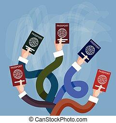 besitz, reise, reisepaß, hände, international, dokument