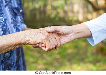 besitz, senioren, runzelig, hände