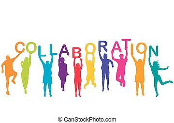 besitz, silhouetten, zusammenarbeit, maenner, bunte, frauen, ihr, hände, wort
