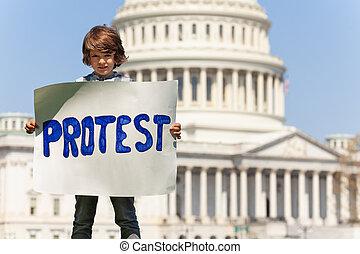 besitz, spruch, manifesting, zeichen, junge, protest, hände