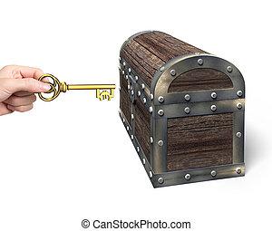 besitz, symbol, schatz, hand, brust, schlüssel, rgeöffnete, euro