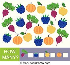 besjes, pumpkin)., vruchten, velen, groentes, getallen, hoe, spel, (apple, mathematics., leren, children., biet, braambes, telling, preschool