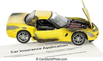 beskadig, gul vogn, hos, en, form, by, forsikring