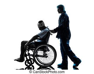 beskadiget, mand, ind, wheelchair, hos, sygeplejerske, silhuet
