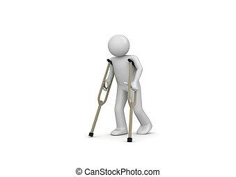 beskadiget, mand på crutches
