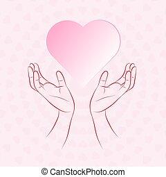 beskyddande, hjärta, hand