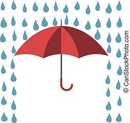 beskyddande, paraply, mot, regna