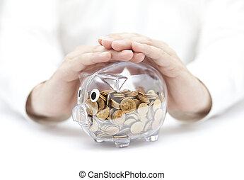 beskytte, din, penge., transparent, piggy bank, hos, mønter, belagt, af, hands.