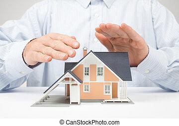 beskytte, hus, -, forsikring, begreb