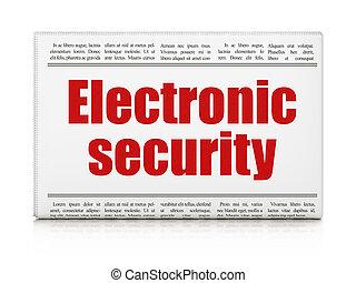 beskyttelse, concept:, avis overskrift, elektroniske, garanti