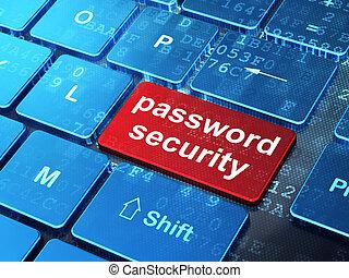 beskyttelse, concept:, løsen, garanti, på, computer klaviatur, baggrund