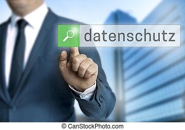 beskyttelse data, (in, tysk, datenschutz), browser, er, fungeret, af, forretningsmand