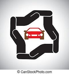 beskyttelse, eller, sikkerhed, i, automobilen, eller, automobil, begreb, vektor