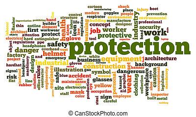 beskyttelse, glose, sky