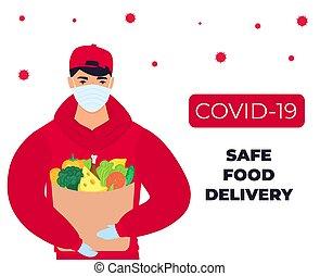 beskyttende, coronavirus, pengeskab, mad, delivery., epidemic., bring, covid-19., kurér, maske