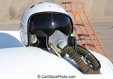 beskyttende, hjælm, i, den, pilot, imod, den, flyvemaskine