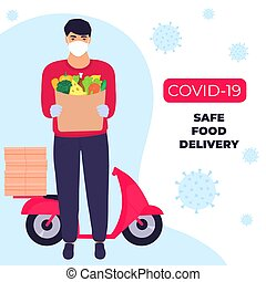 beskyttende, pengeskab, mad, kurér, epidemic., delivery., covid-19., maske, bring, coronavirus