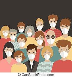 beskytter, folk, gruppe, corona, 19, covid, masks., slide