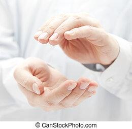 beskytter, hænder
