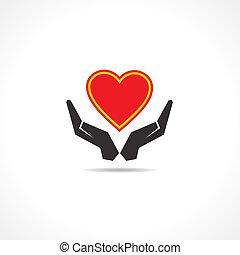 beskytter, ikon, hånd, hjerte